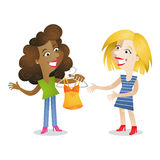 Girlfriends shopping clothes. Vector illustration of cartoon characters: Two girlfriends shopping and  looking at clothes to buy Stock Images