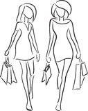 Girlfriends shopping Royalty Free Stock Photo