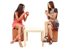 Girlfriends sitting at the table and talking Royalty Free Stock Images