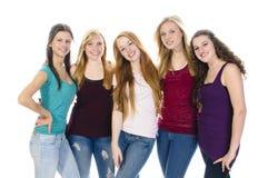 Girlfriends smile at camera Stock Photos