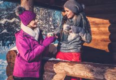 Girlfriends spending winter holiday on mountain cottage. Stock Images