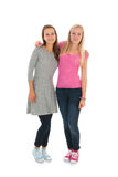 Girlfriends. Standing in de studio isolated over white background royalty free stock photography