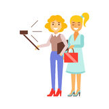 Girlfriends Standing Taking Selfie With Selfie Stick And Smartphone, Person Being Online All The Time Obsessed With Stock Image