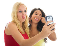 Girlfriends taking mad selfie Stock Image