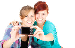 Girlfriends taking picture of themselves Stock Photos