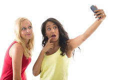 Girlfriends taking selfie Stock Photos