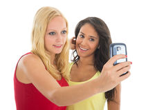 Girlfriends taking selfie Stock Photography