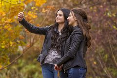 Girlfriends taking selfie picture with smartphone Royalty Free Stock Image