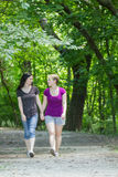 Girlfriends taking a walk through the park, vertical Royalty Free Stock Image