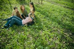 Girlfriends talking. Girlfriends lying on the grass and talking Stock Image