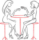 Girlfriends talking in cafe. Vector picture with two women sitting at a cafe and drink coffee Royalty Free Stock Photos