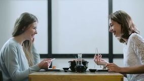 Girlfriends talking in a Japanese restaurant. Two cheerful girls having friendly conversation during eating sushi and rolls in modern restaurant stock footage