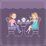 Girlfriends. Two girlfriends meeting in cafe to drink tea. Cute illustration Stock Image