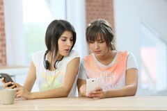 Girlfriends using smartphones at home Royalty Free Stock Photography