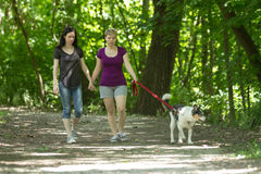 Girlfriends walking dog at park, horizontal Royalty Free Stock Photo