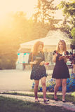 Girlfriends walking through park and write in their notebooks. Royalty Free Stock Photo