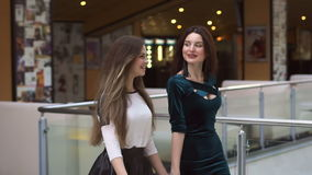 Girlfriends walking through the shopping Mall. Two young girlfriends walking through the Mall with bags, slow motion stock video