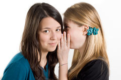 Girlfriends whisper a secret. Two girls with white backgrounds speaking Stock Photos