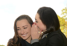Girlfriends whispering Stock Images