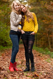 Girlfrineds in the woods Stock Photos