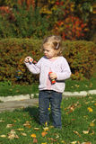 Girlie. The little girl in the autumn park blow bubbles royalty free stock images