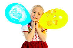Girlie with balloon. Portrait girlie with balloon on white background stock images