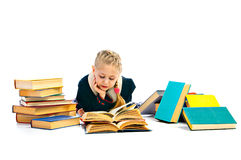 Girlie with book. On white background royalty free stock photos
