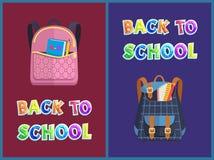 Girlie e sacos unisex de volta ao cartaz do Promo da escola ilustração stock