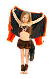 Girlie in fancy dress. Portrait girlie in fancy dress cats stock photo