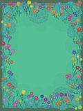 Girlie Flowery Frame_eps. Illustration of old style feminine flowery frame on green space background. --- This .eps file info Version: Illustrator 8 EPS Document Royalty Free Illustration