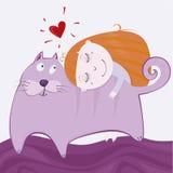 Girlie med kattungen Arkivbilder