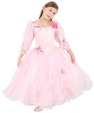 Girlie in pinkish dress. On a white background royalty free stock photo
