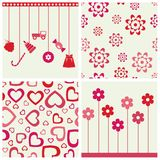 Girlie seamless backgrounds and objects set. Stock Photo