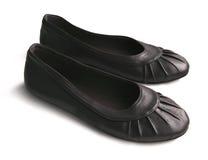 Girlish black shoes Stock Photography