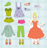 Girlish clothes. Girlish fashionable clothes and footwear vector illustration