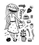 Girlish Fashion Cartoon design outline elements. Freehand doodle girls items hand drawn set. Vector illustration stock illustration