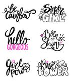 Girlish Graffiti Signs Vector Illustration Slogan. Girlish graffiti signs with fancy fonts decorated with doodles, hearts and diamonds. Vector illustration with stock illustration