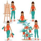 Girlish Hobbies. Different kinds of girlish hobby - houseplants, shopping, painting, photo and yoga royalty free illustration
