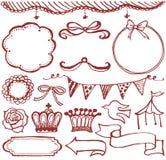 Girlish icons set. Hand drawn illustrations royalty free illustration