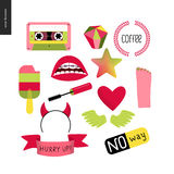 Girlish icons set Royalty Free Stock Images