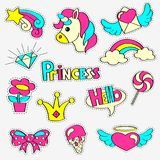 Girlish patch badges with princess, unicorn, rainbow, diamond, crown, lollipop, hearts, star, bow, flower. Stickers set. Fairytale Royalty Free Stock Photo