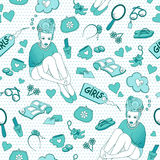 Girlish pattern. Seamless pattern with girlish illustrations Royalty Free Stock Photo
