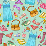 Girlish pattern. Seamless pattern with girlish items Royalty Free Stock Photography