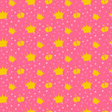 Girlish pink pattern with princess crowns. Stock Photos