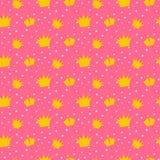 Girlish pink pattern with princess crowns. Stock Photos