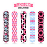 Girlish prints for snowboards Royalty Free Stock Photos