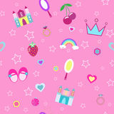 Girlish seamless pattern with crown, castle pink background vector illustration Stock Photo