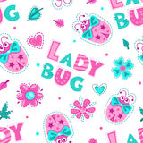 Girlish seamless pattern with cute ladybugs. Slogans, flowers and hearts on white background. Vector texture for baby textile print royalty free illustration
