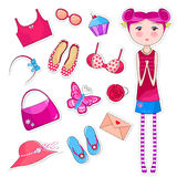 Girlish things. Cute girl next to a set of girlish objects royalty free illustration