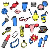 Girlish things hand drawn icons set colored. Girlish  hand drawn icons set colored Stock Photography
